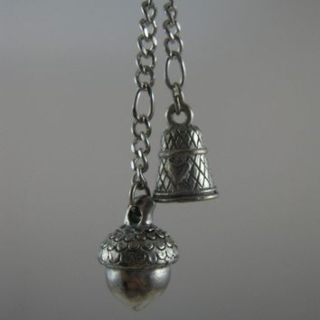 SALE Peter Pan Kisses Necklace with Acorn and Thimble Charms. Best Seller.