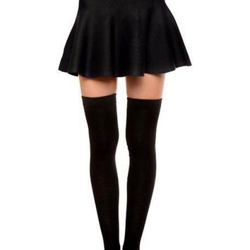 Ladies Thigh High Socks, Blk