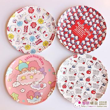 PROMOTION gift CHEAP HELLO KITTY little twin star cute appetizers dish melon seeds plate cake display dish small plater