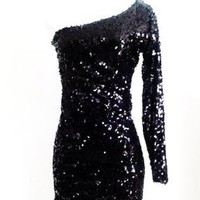 Midnight Black Asymmetrical One Sleeve Sequin Min