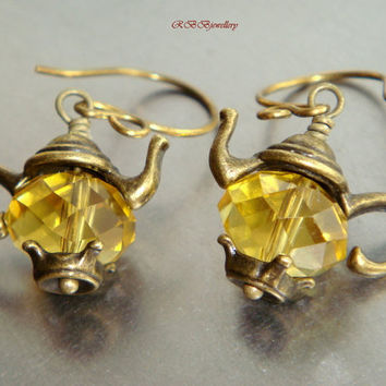 Vintage Inspired Yellow Quartz Brass Teapot/Kettle Earrings
