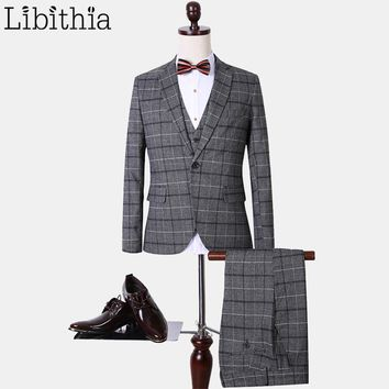 (Jacket+Pant+Vest) Suits mens plaid