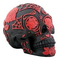 Day of the Dead Black and Red Tattoo Sugar Skull Statue
