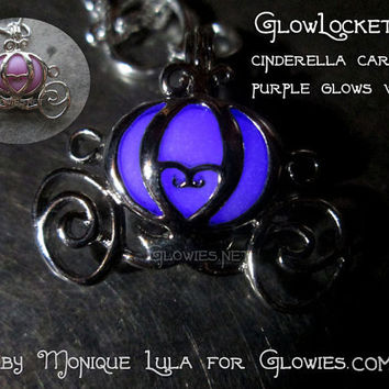 Cinderella Pumpkin Carriage Princess Fairytale Pendant Necklace Glow Locket