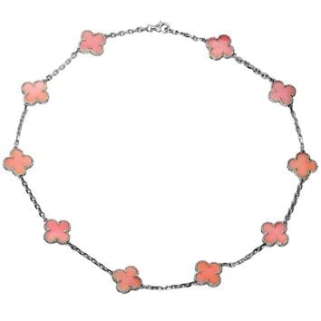 Van Cleef & Arpels Alhambra Pink Opal White Gold Ten Motif Necklace