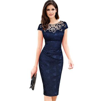 Fantaist Women Summer Floral Embroidery O Neck Ruched Lace Dress Elegant Wedding Party Casual Office Vintage Midi Pencil DressesY1882302
