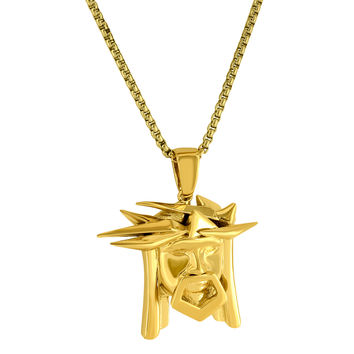 "Designer Jesus Head with Crown of Thorns 18k Gold Finish Big Pendant with 24"" Box Chain"