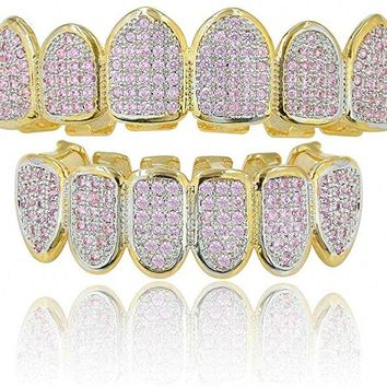 Double Stuffed Pink Stone Grillz for Women