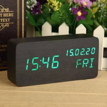 Calendar Black Green Wooden Clock Chic Digital Clock AlarmTemperature LED Display Desktop Voice Control Table Led Clock