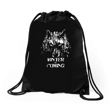 game of thrones direwolf winter is coming Drawstring Bags
