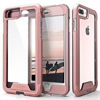 Zizo [ION Series] iPhone 7 Plus Case w/ [iPhone 7 Plus Screen Protector] Crystal Clear [Military Grade] for iPhone 7 Plus and iPhone 6 / 6s Plus - Rose Gold/Clear