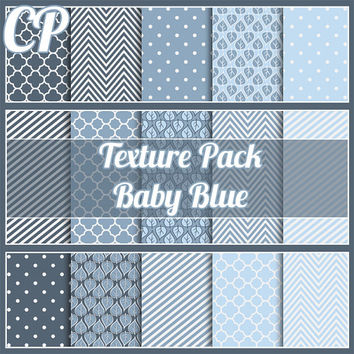 30% sale Baby Blue seamless texture pack. Digital papers great for scrapbooking etc. includes quatrefoil, chevron, stripes. royalty free