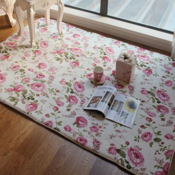 Romantic Floral Room Floor Mats Sweet Rose Print Carpets For Living Room Modern Designer Shabby Style Flower Rug Decorative