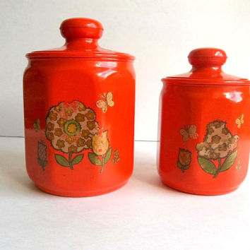 Vintage Kromex Canisters Set of TWO, Vivid Bright Orange with flower design, kitchen storage with lids Retro Mod kitchenware