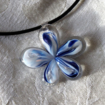 Handmade Blue & White Glass Flower Pendant with Leather Band
