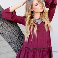 Bohemian Flared Sleeve Top-Burgandy
