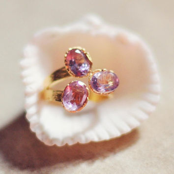 Adjustble purple lavender lilach triple natural  AMETHYST FASHION RING by YUNILIsmiles