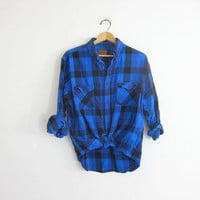 Vintage Blue Buffalo check Plaid Flannel / Grunge Shirt / Button up shirt