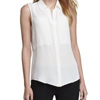 Women's Duria Sleeveless Silk Blouse - Theory - White