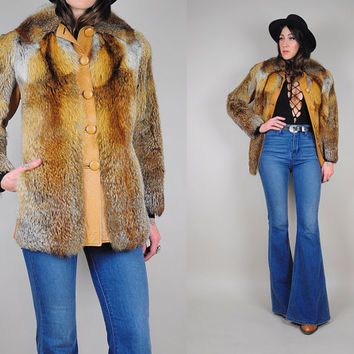70's FOX FUR + leather Mod coat