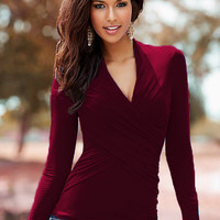V-Neck Wrap Around Ruched Long Sleeve Blouse