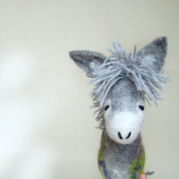 Grey Birger - Felt Donkey. Art Toy. Felted Stuffed Marionette Puppet Handmade Animals Toys, mteam. grey green gray. MADE TO ORDER.