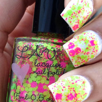NEON Love / NEON pink  and NEON Green Handmade Glitter Nail Polish Lacquer