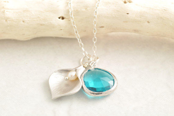 Calla Lily Necklace - bridesmaid necklace, wedding jewelry, glass stone necklace, lily pendant