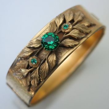 Victorian Revival Emerald Glass Leaf Bangle Bracelet