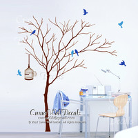tree wall decal birds birdcage, wall mural children wall sticker nursery graphic vinyl wall art - winter tree birds Z171 by cuma