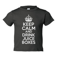 Keep Calm & Drink Juice Boxes Adorable Creepers Onsies Toddlers Infant Graphic Keep Calm Juice Box On Toddler T Shirt