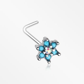 Spring Flower Turquoise Sparkle L-Shaped Nose Ring