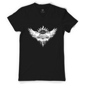Supernatural White 2QA V-Neck T-shirt