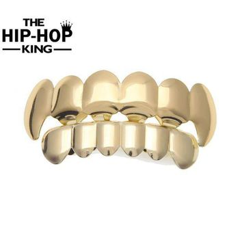 Hip Hop Gold Color Teeth Grillz Top & Bottom Grill Set For Halloween Christmas Party Vampire Teeth