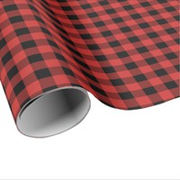 Red Buffalo Plaid Tartan Scottish Christmas Wrapping Paper