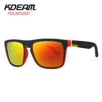 KDEAM Polarized Sunglasses Men Sport  Fashion Square Frame Brand Designer Women Oculos De Sol Reflective Coating UV400 With Case