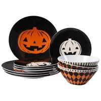 Evergreen Dinner Plates, Salad Plates and Cereal Bowls Set of 12 - Black and Orange