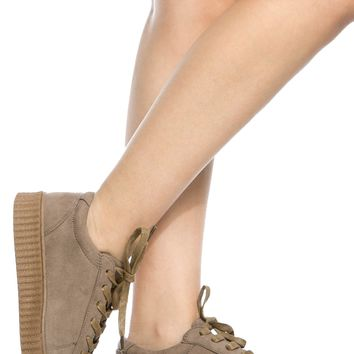 Taupe Faux Suede Flatform Creepers @ Cicihot Women Sneakers-Fashion Sneakers,Casual Sneakers,Wedge Sneakers,Platform Sneakers,Hidden Wedge Sneakers,High Top Sneakers,Lace Up Sneakers,Studded Sneakers,Buckle Sneakers