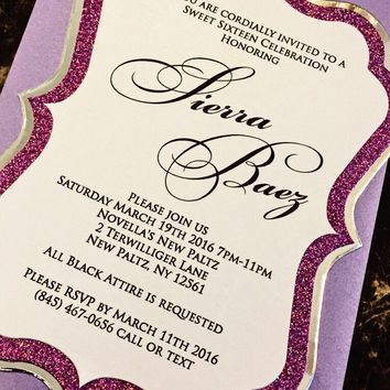 Sweet 16 Invites - Purple Glitter and Silver Foil Sweet 16 Invitations - SIERRA VERSION