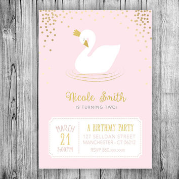 Swan Invitation Swan Princess Birthday Party Invitation Crown Girl Kids Invite Pink Gold Polka Dots First Birthday Party (Printable File)
