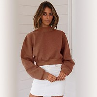 Pullover O Neck Cropped Hoodie