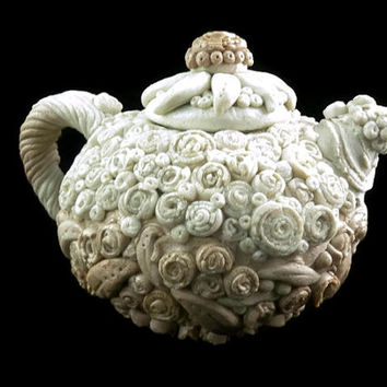 Ombre decorative art teapot pearl white and tan floral textures polymer clay