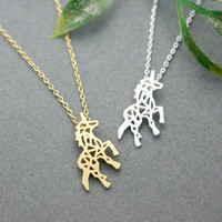 Beautiful Unicorn Necklace in silver/ gold, N0256G