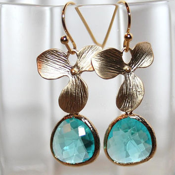 Wedding Aqua blue drop and Orchid Earrings by AngelPearls on Etsy