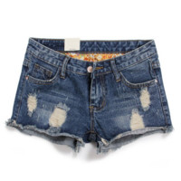 Women's Slim Fit Comfortable Ripped Denim Shorts Ladies Blue