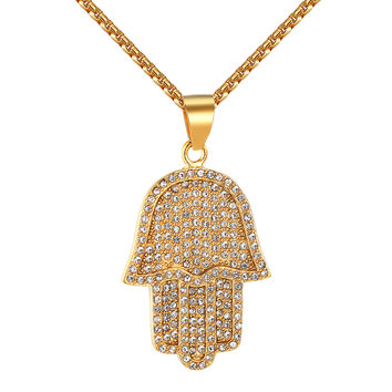 """Iced Out Men 14k Gold Finish Hamsa Hand Stainless Steel Pendant 24"""" Necklace Set"""