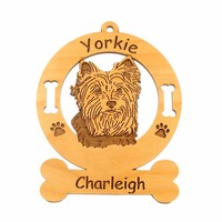 4255 Yorkshire Terrier Head Ornament Personalized with Your Dog's Name