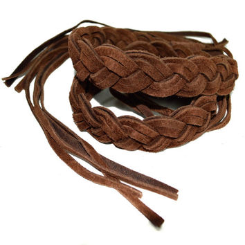 Vintage 90s Brown Boho Hippie Gypsy Fringed Braided Tie Belt