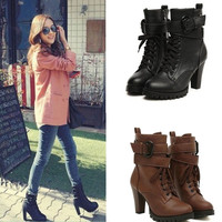 Black Lace Up Faux Leather Women Motorcycle Shoes High Heels Ankle Martin Boots = 1697168836