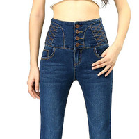 2018 New Big Yards Breasted Waist Jeans Casual Slim Was Thin Pencil Pants Trousers For Women